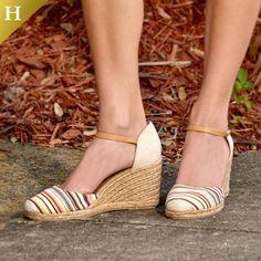 White Mountain Shoes Mamba Pink Multi Striped Wedge