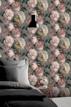 Oversized blooming florals climb this design with a romantic and elegant style; give your walls a touch of nature with this beautiful design. Seen here in the Blush Pink colourway