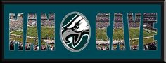 MAN CAVE - Personalized Framed Philadelphia Eagles Team Logo & Lincoln Financial Field Stadium Large Panoramic Showing In Background With MANCAVE Letters Cut Out & Team Logo In Center-Framed Awesome & Beautiful-Must For Any Fan!