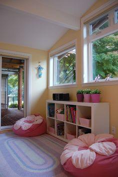 Beanbag chairs for playroom reading nook Reading Nook Closet, Reading Nook Kids, Reading Areas, Reading Room, Ikea Pax, Ikea Kallax, Girl Room, Girls Bedroom, Bedroom Wall