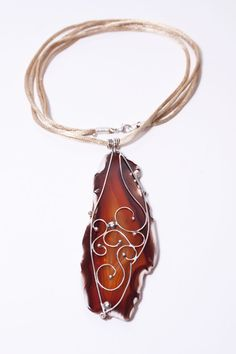 Mielikki - fine silver buterfly wings necklace with slice of agate on silk gold cord, handcrafted, wire work