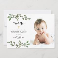Photo Thank You Cards, Custom Thank You Cards, Photo Cards, Christening Thank You Cards, Christening Invitations, Christening Card, Baby Girl Baptism, Baptism Party, Baptism Ideas