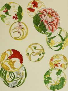 """Image from page 95 of """"Studies in the decorative art of Japan"""" in 2020 Flower Circle, Flower Art, Japanese Flowers, Japanese Art, Art Inspo, Embroidery Patterns, Print Patterns, Art Nouveau Illustration, Jewelry Design Drawing"""