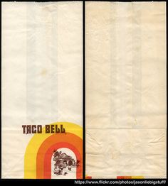 Taco Bell - fast food restaraunt take-out bag - 1979-1980 Here's an awesome vintage Taco Bell take-out to-go bag from the 1970's/1980's.