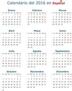 Calendario 2016 Español
