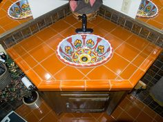 Mexican sink installation in the bathroom.
