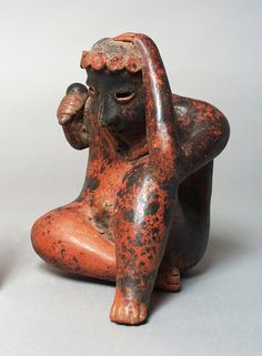 Seated Figure, Mexico, Nayarit, Nayarit, 200 B.C. - A.D. 500 - Burnished ceramic with slip | LACMA Collections