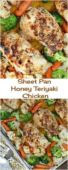 Sheet Pan Honey Teriyaki Chicken - Meatloaf and Melodrama Sheet Pan Honey Teriyaki Chicken Dinner with Roasted Veggies - An easy one pan meal ready in 30 minutes with quick clean up too! Healthy Chicken Recipes, Cooking Recipes, Healthy Food, Pan Cooking, Healthy Chicken Dinner, Freezer Recipes, Freezer Cooking, Paleo Dinner, Raw Food