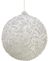 """4"""" White Victorian Lace and Ice Beaded Ball Christmas Ornament"""