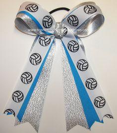 Volleyball Ribbon, Girls Hair Bows, Sports Hair Bows, Ponytail Holder Bows #Volleyball