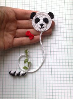 crochet Panda bookmark 98 Panda Bear Cute bookmark by ElenaGiftPanda signet 98 ours Panda mignon signet Animal signetBookmark Panda Bear and small red bow As a bookmark you can use to save a page in books, diaries, paper notebooks etc. Crochet Panda, Marque-pages Au Crochet, Crochet Mignon, Crochet Books, Bead Crochet, Crochet Gifts, Cute Crochet, Crochet Stitches, Crochet Earrings