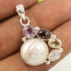 925 Sterling Silver Jewelry Natural MOP SHELL & Other Gemstones Pendant Exporter #Unbranded #Pendant