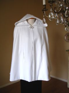 White Fleece Hooded Bridal Cape Wedding Cape Short Cloak with Arm Slits,Satin Lining, RED-CARPET Style, Custom Made,Hand Made USA