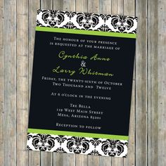 Damask, wedding invitation, White and Black Damask with Green Accent, printable, digital file (any colors). $13.00, via Etsy.