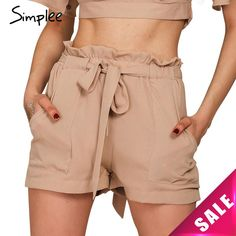 US $10.89 -- Simplee Apparel 2016 summer new style chiffon shorts Bow high waist belt shorts Solid color pocket casual women shorts aliexpress.com