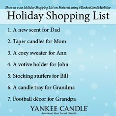 "To enter A Very Yankee Candle® Pinterest Holiday Sweepstakes, follow Yankee Candle® on Pinterest and create a board titled: ""My Holiday Shopping List."" Pin items with #YankeeCandleHoliday, using this Sweepstakes image as an example!  Contest Rules: https://www.facebook.com/notes/the-yankee-candle-company/a-very-yankee-candle-pinterest-holiday-sweepstakes-official-rules/10151853986828526"