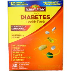 Nature Made, Daily Diabetes Health Pack, 30 Packets, 6 Supplements Per Packet