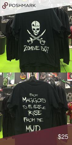 Zombie Boy T-shirt White White Zombie boy logo with lyrics on the back Shirts Tees - Short Sleeve