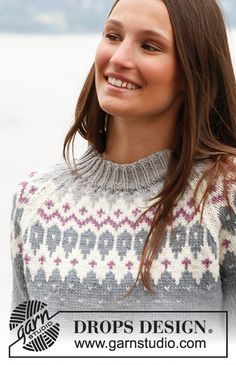 Knitted DROPS jumper with raglan and pattern in Jumper Knitting Pattern, Knitting Patterns Free, Free Knitting, Free Pattern, Drops Design, Handgestrickte Pullover, Fair Isle Pattern, Off Shoulder Sweater, Hand Knitted Sweaters