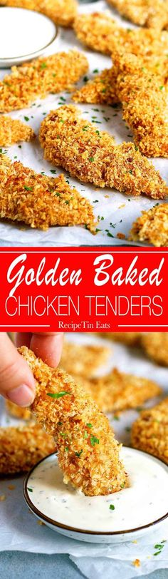 Crunchy Baked Breaded Chicken Tenders (use GF breadcrumbs/crushed GF crackers/crushed GF cereal) Breaded Chicken Tenders Baked, Crispy Oven Baked Chicken, Chicken Tender Recipes, Recipe Chicken, Baked Chicken Fingers, Fried Chicken, Batter For Chicken Tenders, Oven Baked Breaded Chicken, Panko Breaded Chicken