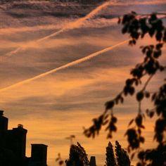 Orange sky #sky #orange #lucht #oranje #amazing #beautiful #stripes #clouds #wolken #trees #autumn #herfst #house #huis #bomen #sunset #zonsondergang #zon #sun #sonne #soleil #leiden #netherlands #nederland #hofje #evening #summer #silhouette