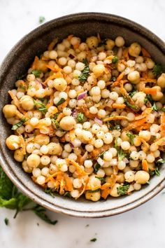 This healthy vegan pearl couscous salad has delicious fresh herbs, chickpeas, and carrots. It's the perfect light lunch or meal prep recipe. Pearl Couscous Recipes, Couscous Salad Recipes, Healthy Salad Recipes, Lunch Recipes, Pasta Salad, Vegetarian Recipes, Egg Salad, Pasta Food, Healthy Snacks