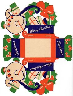 Vintage Christmas Snowman Cardboard Candy Box pre * For free Christmas toys Arielle Gabriels The International Society of Paper Dolls also free China and Japan toys The China Adventures of Arielle Gabriel * Vintage Christmas Images, Vintage Christmas Ornaments, Retro Christmas, Vintage Holiday, Vintage Candy, Vintage Paper, Christmas Past, Christmas Candy, Christmas Snowman