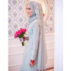 Ideas For Vintage Wedding Attire Bridal Style Hijabi Wedding, Kebaya Wedding, Muslimah Wedding Dress, Muslim Wedding Dresses, Muslim Brides, Wedding Attire, Bridal Dresses, Bridesmaid Dresses, Malay Wedding Dress