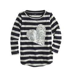 J.Crew - Girls' stripe sequin heart tee...cute with leggings