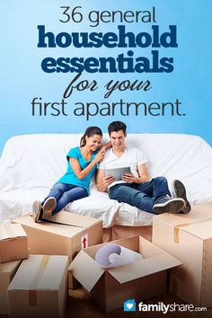 36 general household essentials for your first apartment. There were several things on this list that I didn't think of; like a trash can or a broom!