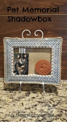 This pet memorial shadowbox was for Babycat who we lost 10 years ago. Believe it when I say- I had her pawprint in a box for 10 years waiting for the day I would finally do something with it. Christmas Animals, Christmas Pets, Garden Frogs, Burlap Canvas, Garden Projects, Diy Projects, Old Quotes, Animal Decor, Pet Memorials
