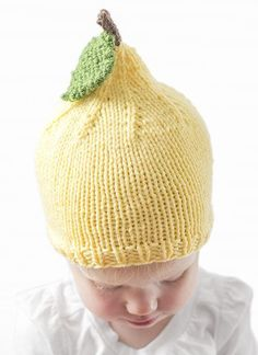 Free Knitting Pattern for Lemon Baby Hat - This lemon inspired baby from Little Red Window is available for free in the 6 months size in a web page version. Additional sizes and the printable pdf are available on Etsy.