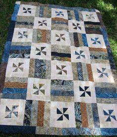 Alice's House: Coffee Breeze -- made with Timeless Treasures Tonga Treats Coffee Cake strips. A Kim Brackett pattern
