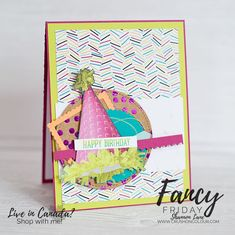 It's Thursday night, and yes, I'm finally back to Fancy Friday! I inadvertently took the last few months off (time kept . Birthday Cards, Happy Birthday, Beautiful Handmade Cards, Stamping Up Cards, Paper Cards, Perfect Party, Homemade Cards, Beautiful Day, It's Thursday