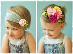 headbands such cute kids! this headband thing is a great idea and soooo pretty on little girls :-) Baby Kind, My Baby Girl, Baby Love, Creation Couture, Hairbows, Kind Mode, Fabric Flowers, Hair Flowers, Fabric Bows