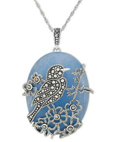Genevieve & Grace Sterling Silver Necklace, Blue Jade (33-3/8 ct. t.w.) and Marcasite Bird Pendant