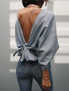 Solid Knot Open Back Bat-Wing Sleeve Sweatshirt - - spring outfit ideas Source by Look Fashion, Fashion Beauty, Autumn Fashion, Fashion Outfits, Womens Fashion, Fashion Tips, Beach Fashion, Fashion Trends, Looks Chic