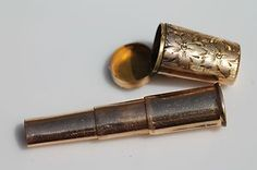 Antique Gold FIlled Chatelaine Telescoping Cigarette Holder & Case Pendant. A smoke blower necklace- blow smoke at your rivals.