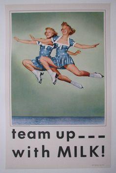 1950's Vintage Shipstads & Johnson Ice Follies Girls Milk Skating Poster