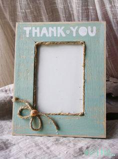 Thank you photo-frame favors table favor mint light by WHITEand #mint #lightblue #wedding #romantic #thankyou