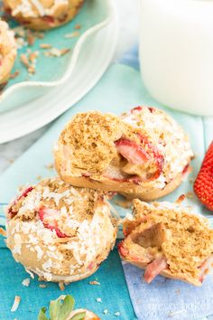 Check out these Gluten-Free Strawberry Coconut Muffins from Jennie at The Messy Baker! A deliciously simple recipes using Pamela's All-Purpose Flour Artisan Blend.