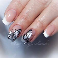Sexy Nails, Fun Nails, Gorgeous Nails, Pretty Nails, Butterfly Nail Art, Nail Polish, Gel Nail Designs, Stylish Nails, French Nails