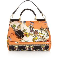 Dolce & Gabbana The Miss Sicily medium printed canvas and leather... ($1,995) ❤ liked on Polyvore