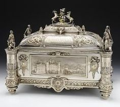 Antique silver presentation casket given to Gavin, 1st Marquess of Breadalbane, by the tenantry on the Breadalbane estates in Perthshire and Argyll, on his being created a Knight of the Garter, 1894, made by D. and G. Edwards, Glasgow, hallmarked 1893 - 1894, designed and engraved by David MacGregor, Perth, 1893 - 1894.