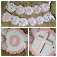 Items similar to Personalized Baptism Banner, Christening, First Communion, Confirmation on Etsy Christening Banner, Christening Favors, Baptism Party, Girl Baptism, First Communion Decorations, Pink Polka Dots, Kid Names, Card Stock, Baby Shower