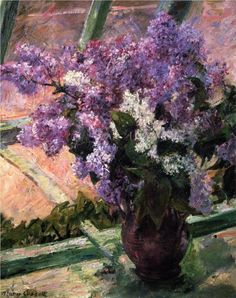 Lilacs in a Window, still life, 1880,  oil on canvas, 50.8 x 61.595 cm, Private Collection, Impressionism. Mary Cassat (1844-1926).  Artist: Mary Cassatt  Completion Date: c.  Style:   Genre:   Technique:   Dimensions:   Gallery: