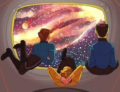 Kirk, Bones, and Spock Star Wars, Star Trek Tos, Starship Enterprise, Gif Animé, Love Stars, Spock, Gifs, Science Fiction, Nerdy