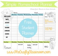 Encourage Independence with our Free Weekly Homeschool Planner