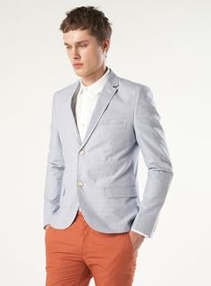 Blue Tick Stripe Skinny Blazer