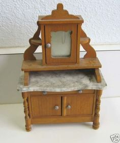 Schneegas antique doll house marble sideboard buffet